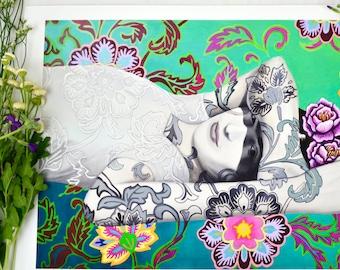 "Frida Kahlo - ""Frida's Garden"" Fine Art Print - 12x18 by Ashley Bell"