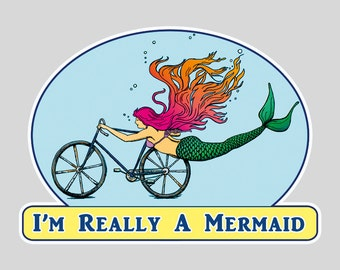 Mermaid Sticker- I'm Really a Mermaid Sticker -  Bike Art - mermaid - Vinyl Sticker by Ashley Bell