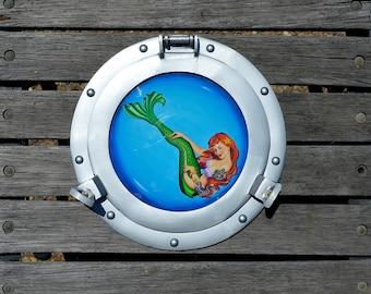 Porthole Pinup - Mermaid Pinup Painting Nautical Frame - Mermaid Tattoo
