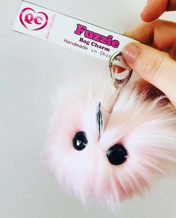 Handmade Rainbow Unicorn Bag Charm Keychain Fuzzie Kawaii Cute Purse Poof Puff