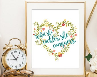 Gilmore Girls What She Tackles, She Conquers Quote - Digital Download Art Print