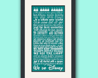 Disney Family Rules 10 by 20 Typography Art Print