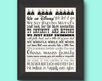"""Disney Family Rules Typography Art Print 11"""" by 14"""" - you choose the color!"""