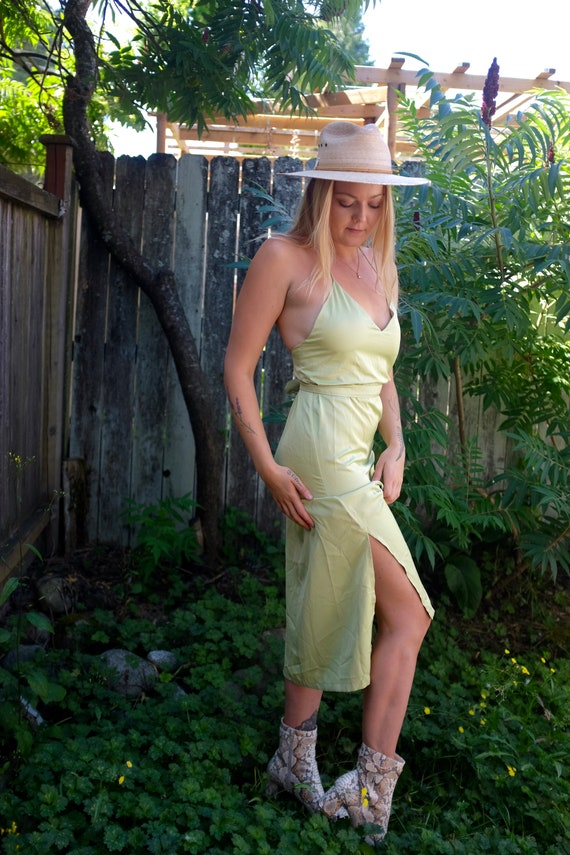 1990s satin green slip dress