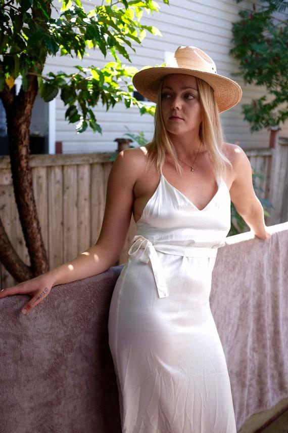 1990s white silk slip dress