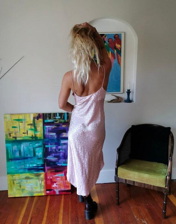1990s blush pink satin slip dress