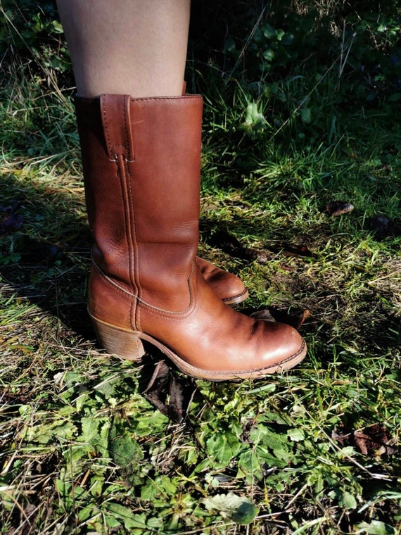 1970s brown leather cowboy boots