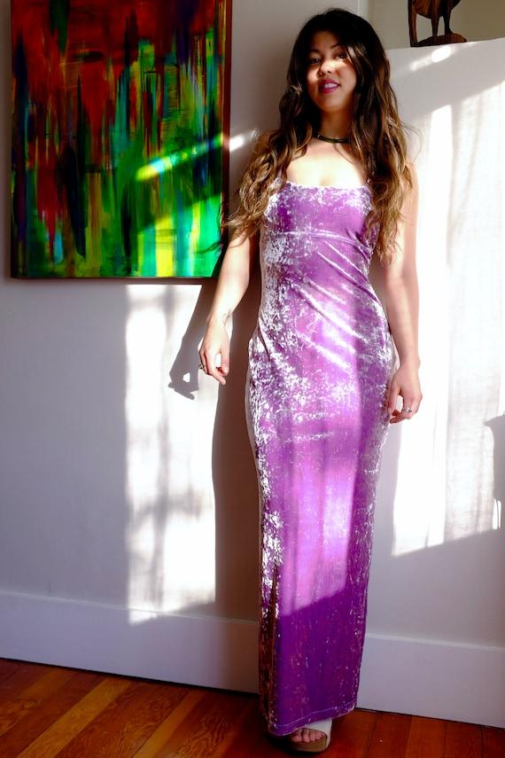 Vintage 90s crushed velvet lavender dress