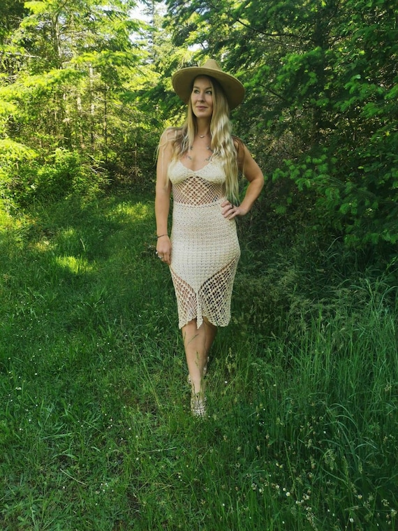 Handmade 1970s crochet dress