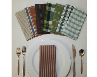 Upcycled Cloth Napkins, 8 pack, Made from Reclaimed Men's Cotton Button-up Shirts, Eco-Friendly Home Decor