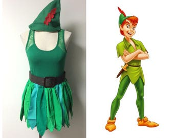 upcycled peter pan costume green skirtkilt top hat and belt tinkerbell and friends neverland lost boys adult ladies size small