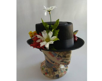 43d1080f75e5a6 Upcycled Steampunk Clothing - Mary Poppins Costume, Custom Made Black Hat  with White Daisies, Spoon Full of Sugar