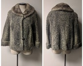 Vintage Clothing 1950s 1960s Silver Persian Lamb and Mink Fur Coat Ladies Persian Lamb Coat Ladies Vintage Coat 1950s Coat Ladies Size S M
