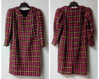 9ca2ecb6f5 Vintage Clothing 1960s Fushia and Orange Tweed Shift Dress Wool Blend Dress  Mid Length No Label Handmade Vintage Dress Ladies Size S Petite