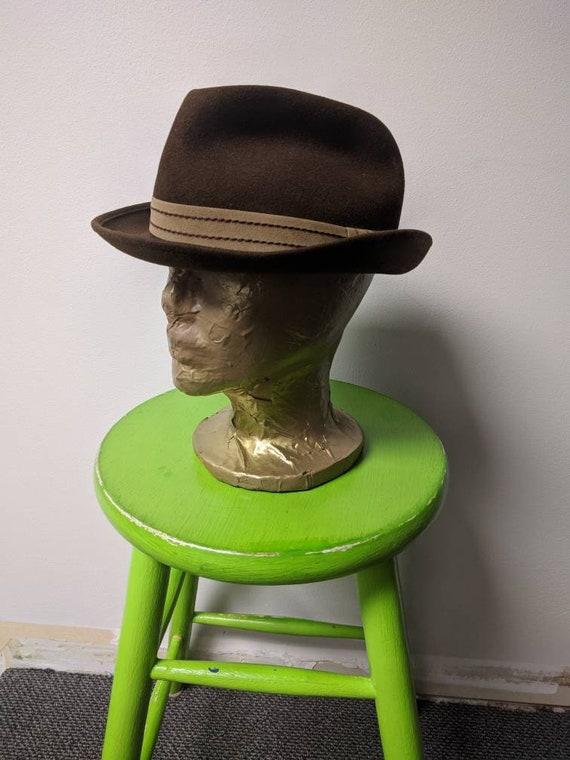 Vintage Steampunk Clothing, Brown Wool Felt Hat, V