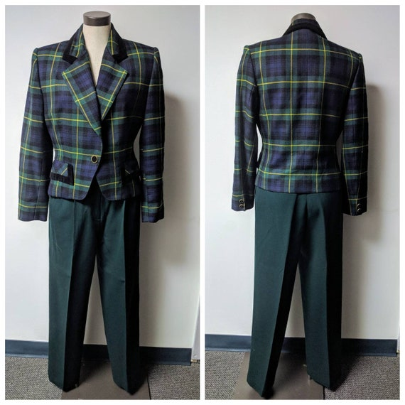Vintage Clothing, Ladies Green Wool Plaid Suit Jac