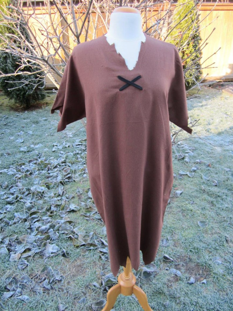 Brown Flannel Tunic with Black Cross Ties Upcycled Steampunk Clothing Barney Rubble Costume Adult Sized S M or L