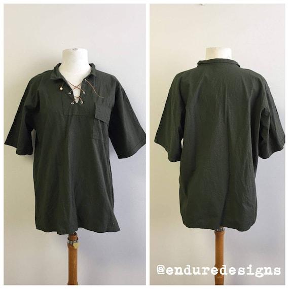 Vintage Clothing, Vintage Green Linen Shirt, Olive