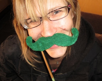 Upcycled Steampunk Felt Mustache on a Stick Handlebar (Green) - Movember Movement