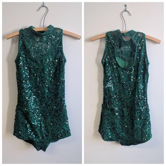Vintage Dance Costume, Vintage Dark Green Dance C… - image 1