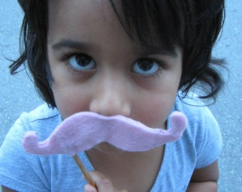 Upcycled Steampunk Pink Felt Handlebar Mustache on a Stick - Movember Movement, 3 Pack for