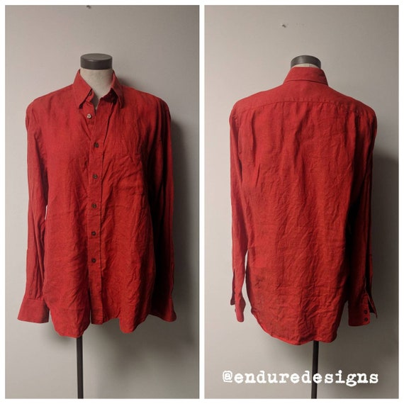 Vintage Clothing, Vintage Ladies Linen Button-up S