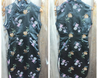 Vintage Clothing, Black Satin Brocade Dress,  Mandarin Collar Black Dress, Ladies Size XS