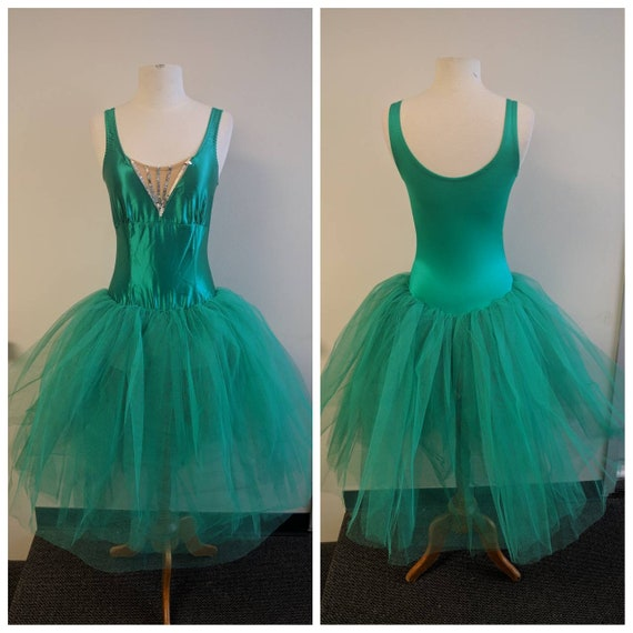 Vintage Dance Costume, Vintage Emerald Green Satin