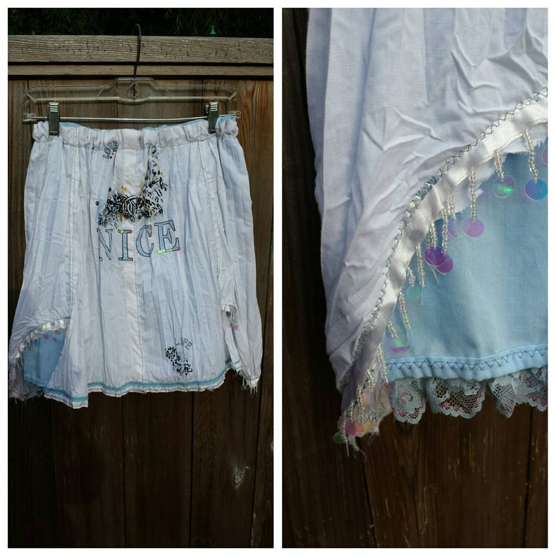 Youth Size 810 Pearl Sequined Trim Light Blue Lining Upcycled Steampunk Clothing Remade White Cotton Skirt