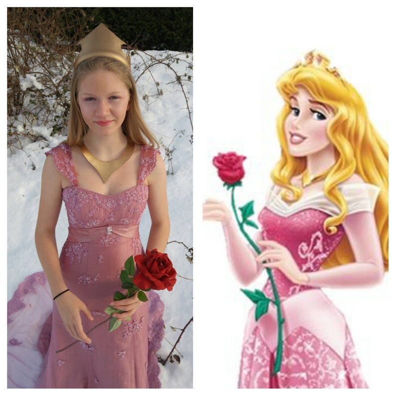 Upcycled Sleeping Beauty Cosplay Hand Dyed Rose Pink Vintage Gown Beaded Lace Chiffon Overlay Corset Back Size 46 Gold Crown /& Necklace