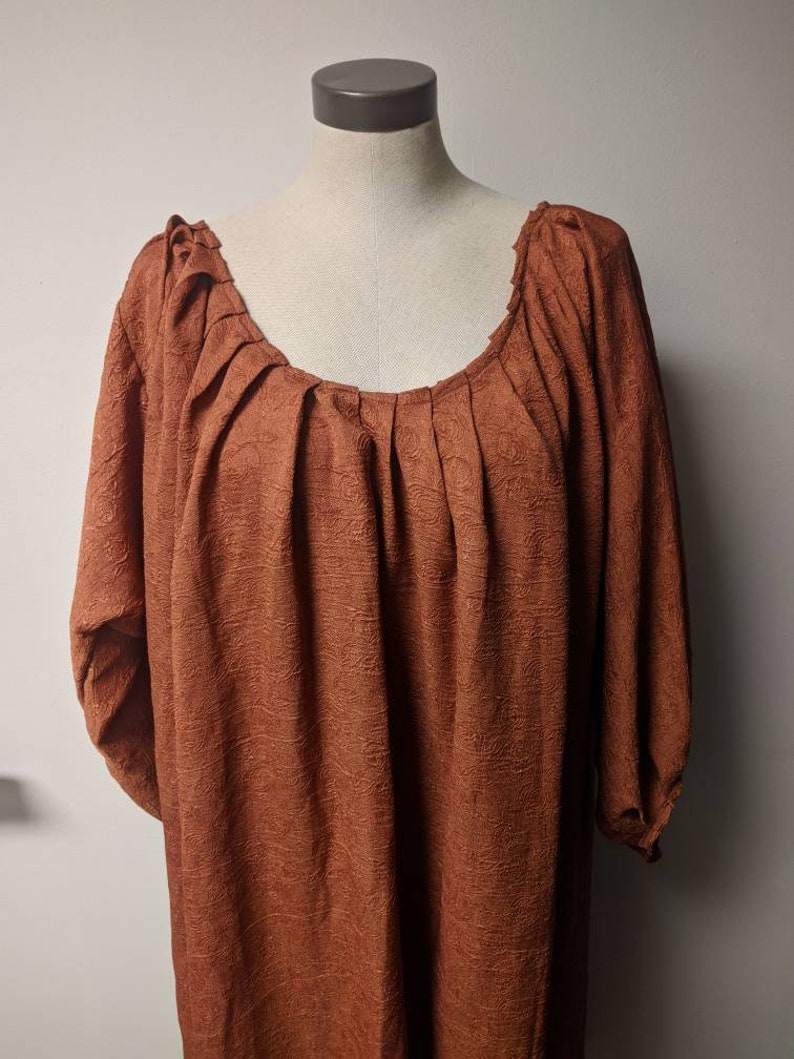 Renaissance Fantasy Costume Ladies Oversized Long Sleeved Scooped Neckline Brown Crepe Medievil Gown Upcycled Steampunk Clothing