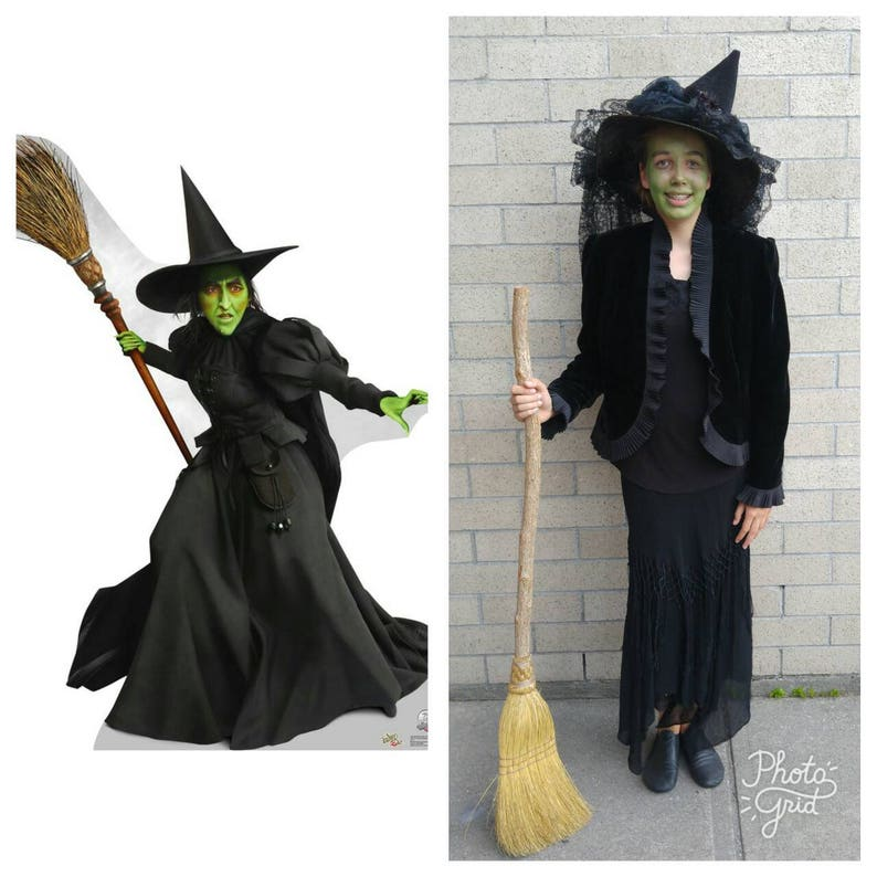 5f2809492b1 Upcycled Clothing, Upcycled Wizard of Oz Costume, Wicked Witch Costume,  Black Pointy Hat, Black Velvet Jacket, Black Skirt, Adult Size