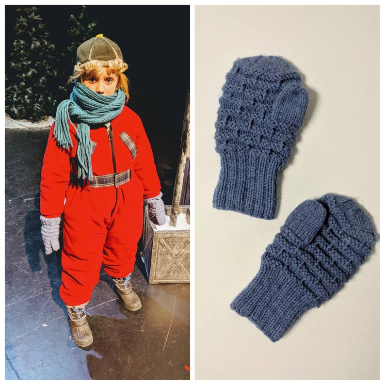 Child Size Vintage Mittens A Christmas Story Theatre Production Randy Parker Winter Mittens 1940s Style Handmade Blue Knitted Mittens