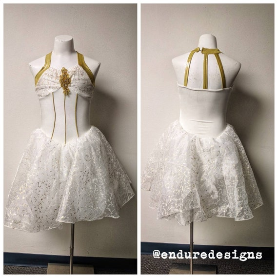 Vintage Dance Costume, Vintage Gold and White Danc