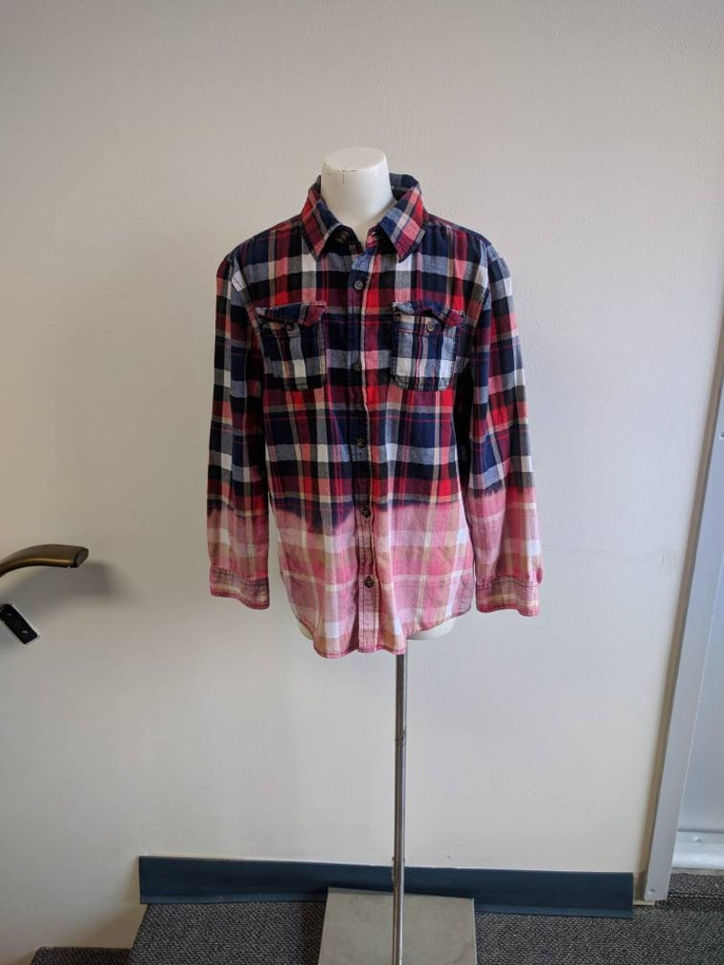 Shabby Chic Upcycled Clothing Youth Size 14 Grunge Shirt #359 Dip Dyed Red and Blue Plaid Shirt Reclaimed Button-up Shirt Bleach Dyed