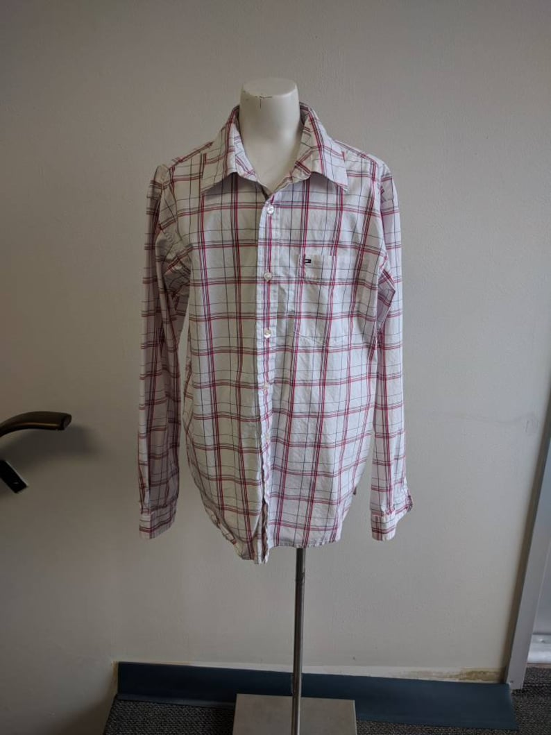 Boys White Red Cotton Plaid Shirt Vintage Clothing Boys Size 1618 Red and White Vintage Tommy Hilfiger Brand Boys Cotton Button-up Shirt