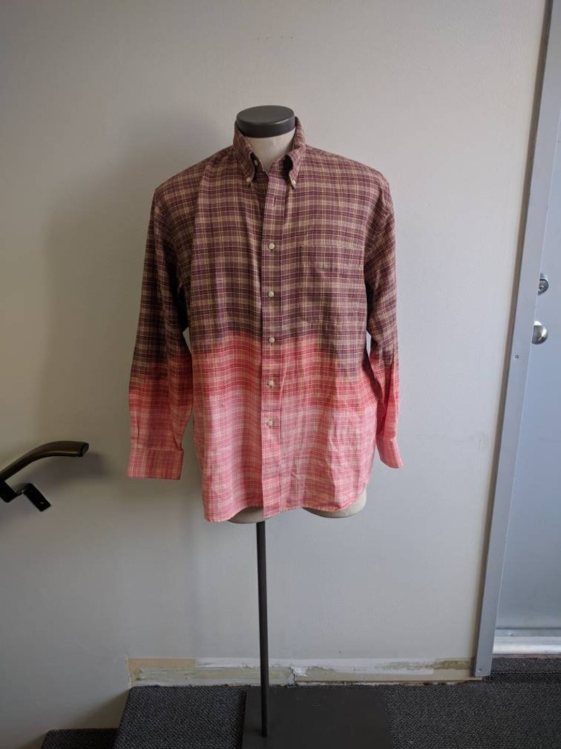 Shabby Chic Reclaimed Button-up Shirt Grunge Shirt Men/'s Large #150 Upcycled Clothing Brown Bleach Dyed Dip Dyed Brown Plaid Shirt