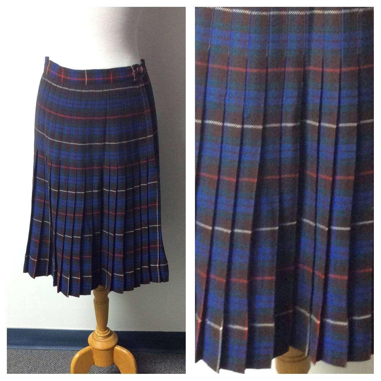 6695f08566 Vintage Clothing Vintage Plaid Pleated Skirt Royal Blue | Etsy