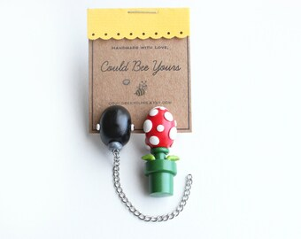 Combo Piranha Plant and Chain Chomp Super Mario Nintendo Earrings