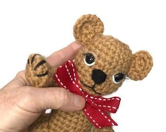 """Crocheted Teddy Bear, Soft Bear 7"""" tall"""