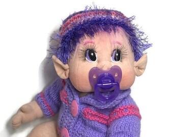"""Soft Cloth Doll,Baby Elf Girl 18"""" Original Design USA made READY to SHIP"""