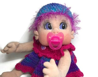 """Soft Sculpture Doll, USA made, Soft Cloth Baby Doll, 18"""" READY to SHIP"""