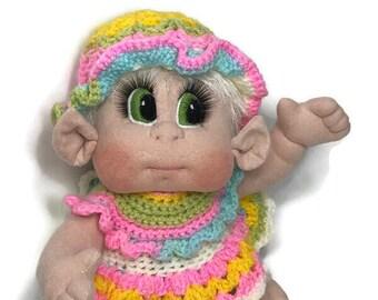 """Soft Cloth Doll,Baby Elf Girl 15"""" Original Design USA made READY to SHIP"""