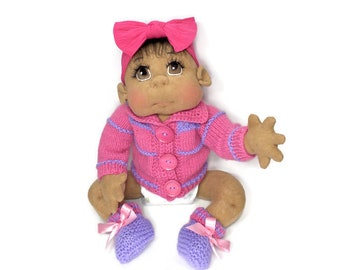 """African American Baby Doll,  Biracial, Hispanic Soft Baby Doll, Soft Sculpture  Doll 24"""" READY TO SHIP"""