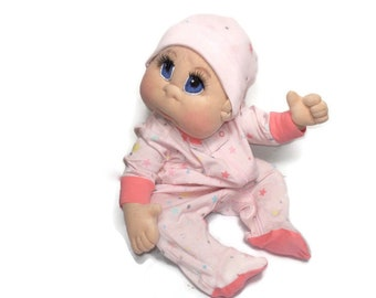 """Soft Sculpture Doll, USA made, Soft Cloth Baby Doll, 22"""" with Sleeper READY to SHIP"""