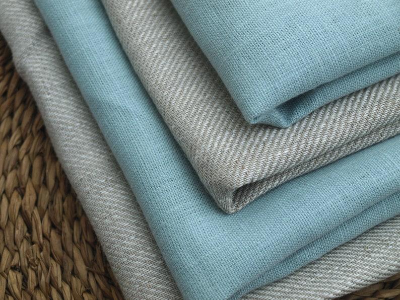 Linen Kitchen Towels Set of 4 Organic Linen Natural Grey and Mint