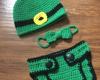 Crocheted St Patrick's Day Set w/ diaper cover