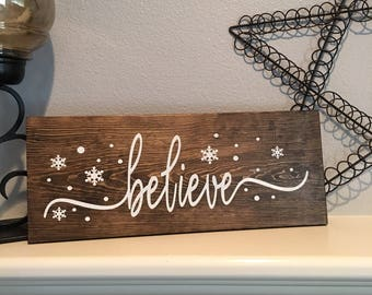 christmas wood signs believe mantle sign christmas signs wood signs believe wood sign - Christmas Wooden Signs