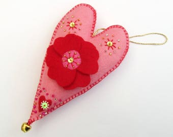 pink heart, love heart, floral heart, love ornament, heart gift, heart decorations, hanging heart decor, felt hearts, heart ornament, hearts