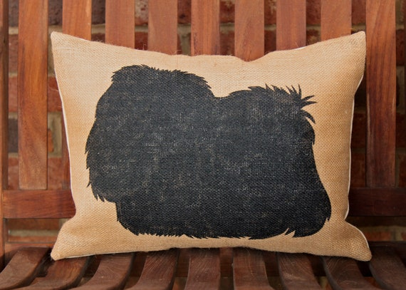Hand Painted Pekingese Dog Silhouette on Burlap Pillow FREE SHIPPING